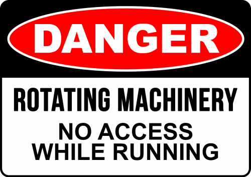 DANGER ROTATING MACHINERY - SAFETY SIGN AUSTRALIA