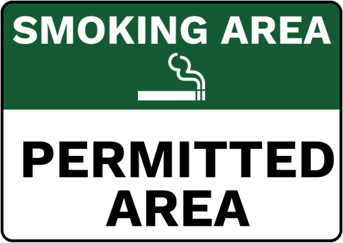 smoking permitted area sign