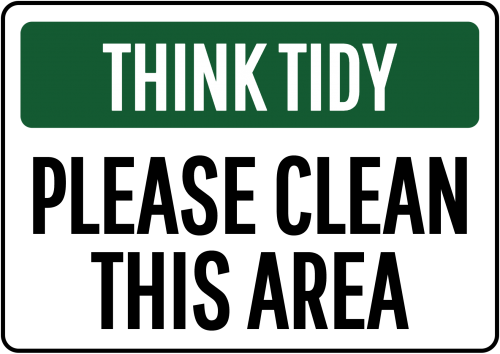 think tidy please clean sign