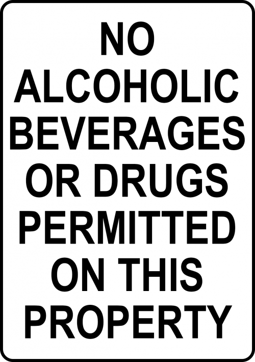 Drug Alcohol Not Permitted Sign