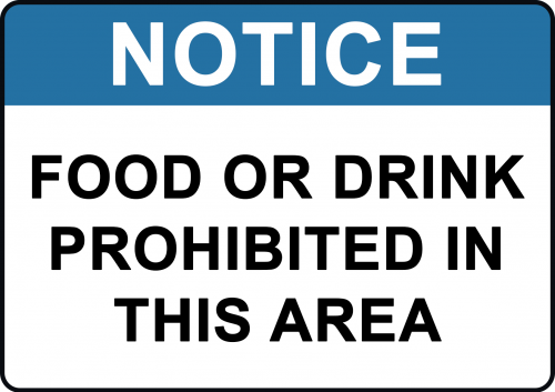 Food or Drink Probited Sign
