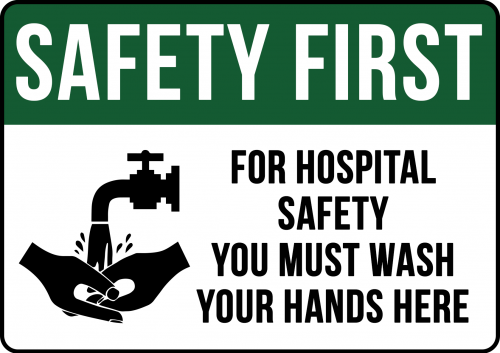 Hospital Safety Wash Hands Sign