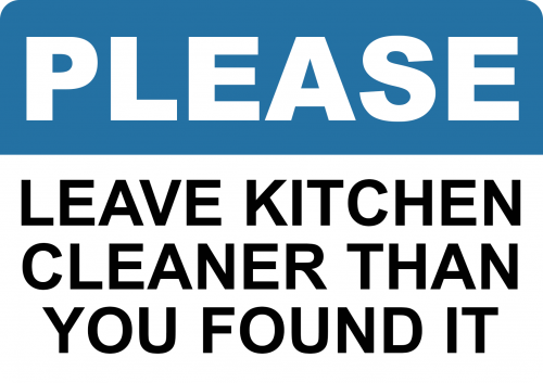 Leave Kitchen Cleaner Sign