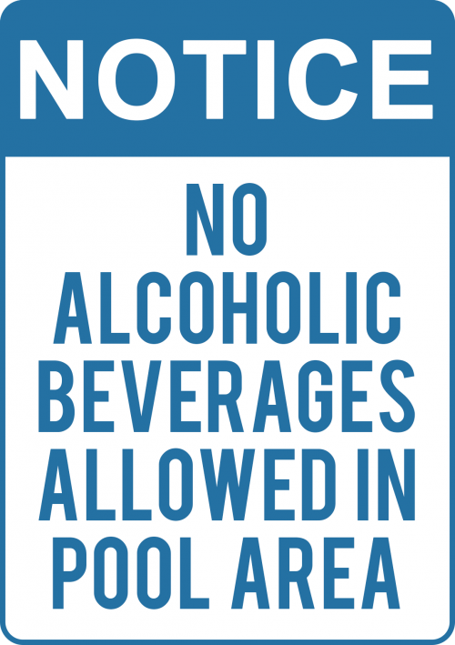 No Beverages In Pool Area Sign