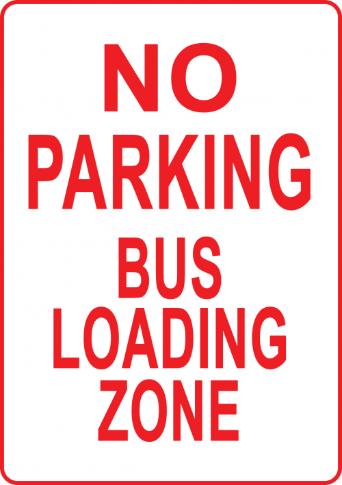 No Parking Bus Loading Zone Sign