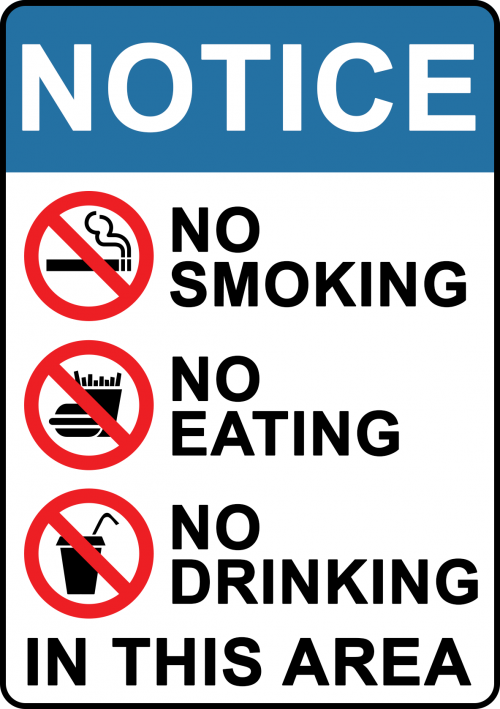 No Smoking Eating Drinking Sign