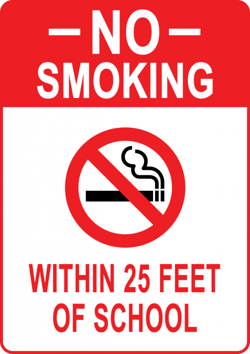 No Smoking Within 25 Feet of School Sign