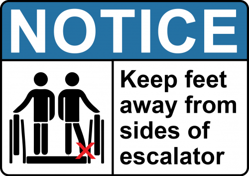 Notice Escalator Sign