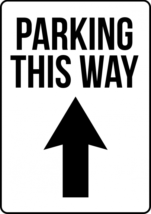 Parking this Way Sign