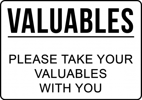 Please take valuables sign