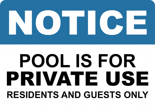 Pool Is For Private Use Sign