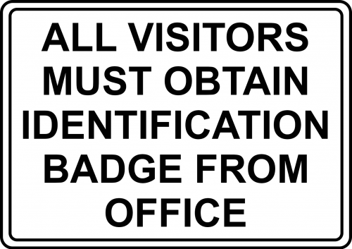 Visitors Need ID Badge Sign