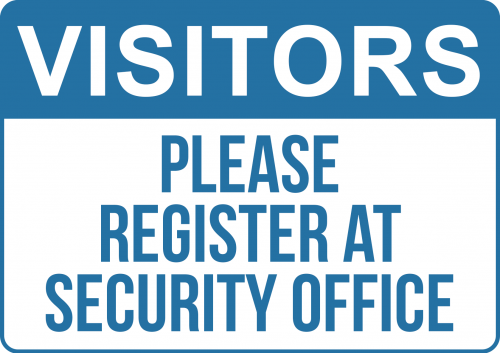 Vistors Register at Office Sign