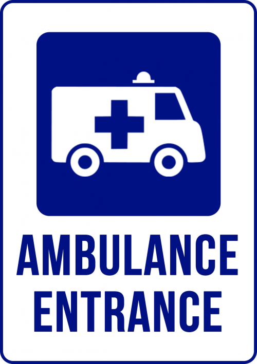 ambulance entrance hospital sign