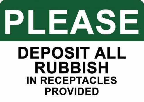 deposit rubbish in receptacles sign