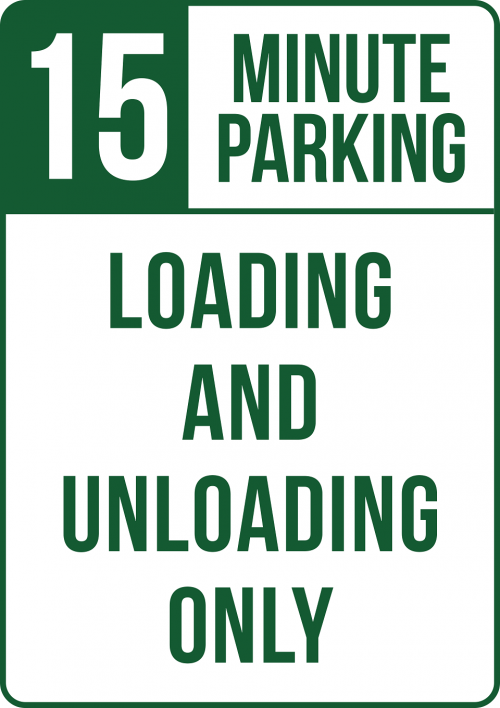 15 minute parking loading and unloading sign