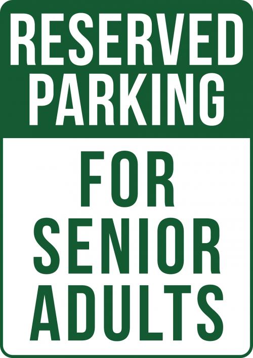 Senior Adult Parking Only Sign