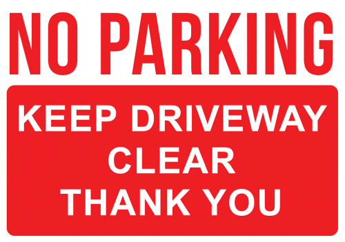 No Parking in Driveway Warning Sign
