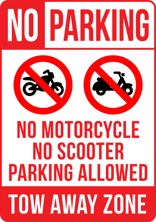 No Motorcycle No Scooter Parking Allowed Sign